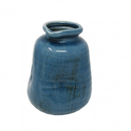 Blue Pottery Flower Vase 5.5""