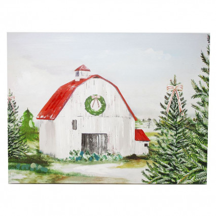 Christmas Trees Barn Wreath Oil Canvas Painting