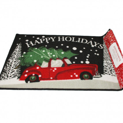 Happy Holidays Red Vintage Christmas Tree Truck Accent Throw Rug