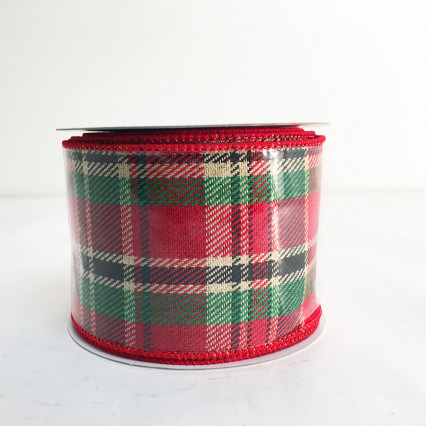 "2.5"" x 10Y Christmas Linen Check Ribbon"
