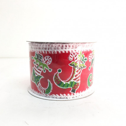 "2.5"" x 10Y Christmas Stockings Ribbon"