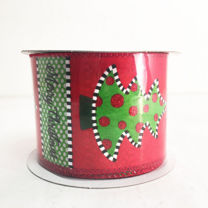 "2.5"" x 10Y Christmas Tree Pattern Ribbon"