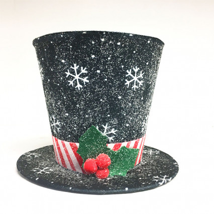 "JWM Collection 17578_B 9"" Black Top Hat Christmas Tree Topper"