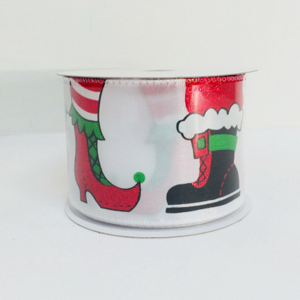 "Caffco Mr. and Mrs. Claus 2.5"" x 10yd Christmas Feet Ribbon 