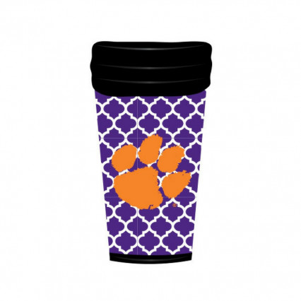 Clemson Tigers 18oz Travel Mug - Quatrefoil