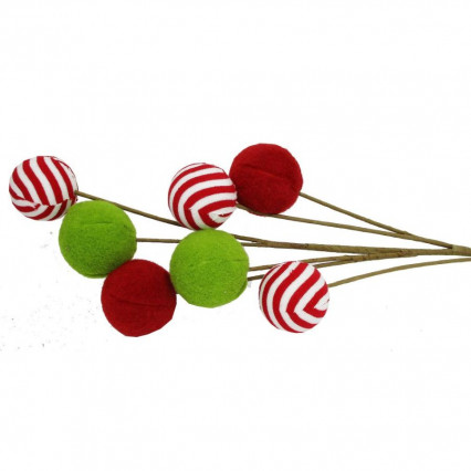 Grinch Green and Red Ball Floral Pick 26""