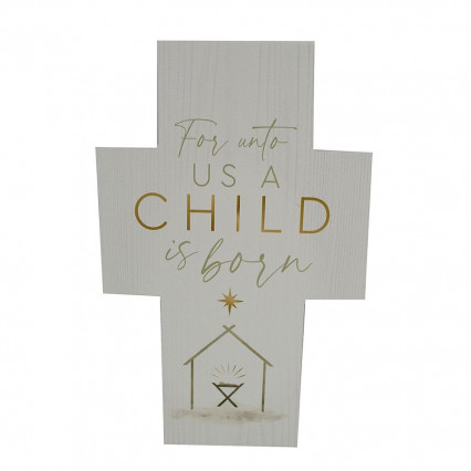 A Child is Born Wooden PGD Cross Block Sign