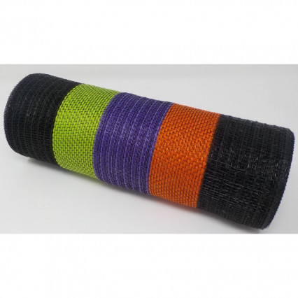 "10.5""x10yd Jute Poly Mesh Blk/Orng/Purp/Lime"