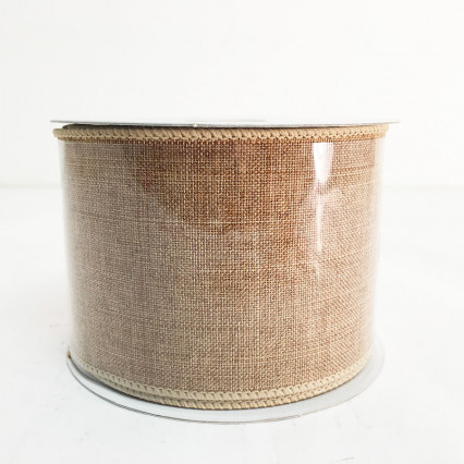 "2.5"" x 10Y Dark Natural Canvas Ribbon"