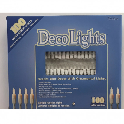 DecoLights 100 Super Bright Clear Lights White