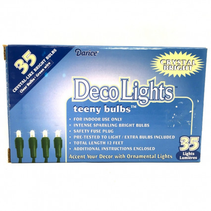 Darice LT3503-2 DecoLights Clear Lights with Green Wire (teeny bulbs)