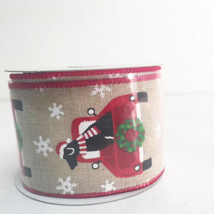 "2.5"" x 10Y Dog in a Red Truck Ribbon"