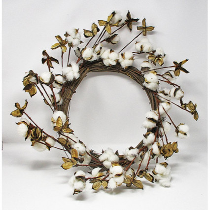 "22"" Round Cotton Grapevine Wreath"