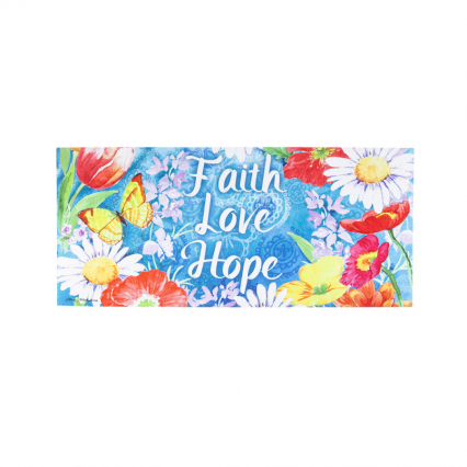 Evergreen 431365 Faith Love Hope Mat Insert, 10 x 22 inches (Door Mat Frame Sold Separately)