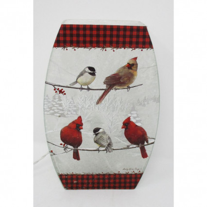 Cardinals Chickadees Light Up Glass Christmas Decor