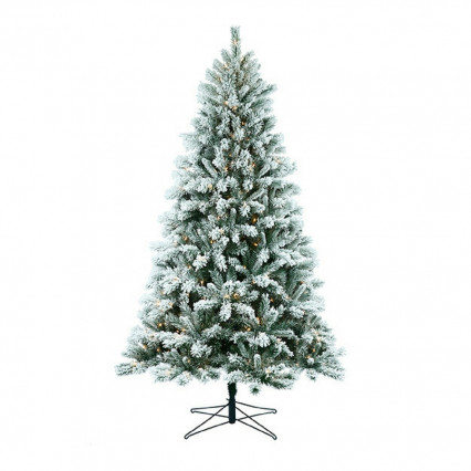Border Concepts 7.5' Flocked Cranmore Pine Christmas Tree