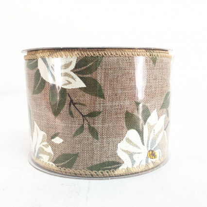 "2.5"" x 10Y Decorative Floral Ribbon"