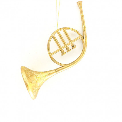 "8"" Glitter Plated French Horn Ornament"