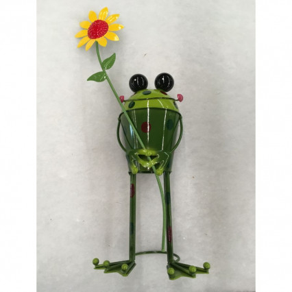 Frog with Sunflower Garden Decor