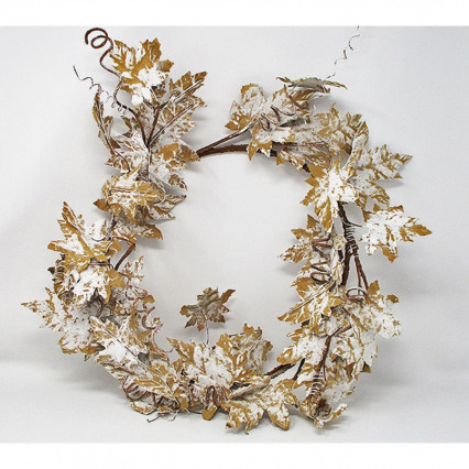 "18"" Christmas Snow Leaf Wreath"