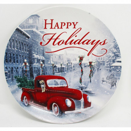 Decorative Christmas Plate Happy Holidays