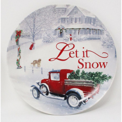 Decorative Christmas Plate Let It Snow