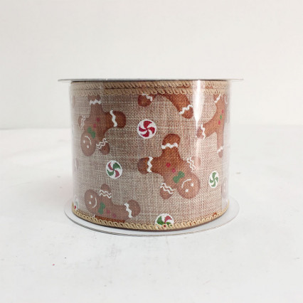 "2.5"" x 10Y Gingerbread Man Ribbon"