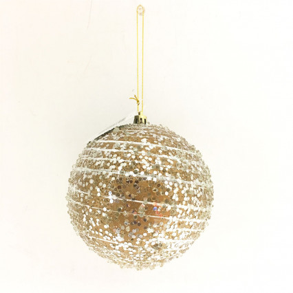 "4"" Gold Bead Ball Ornament"