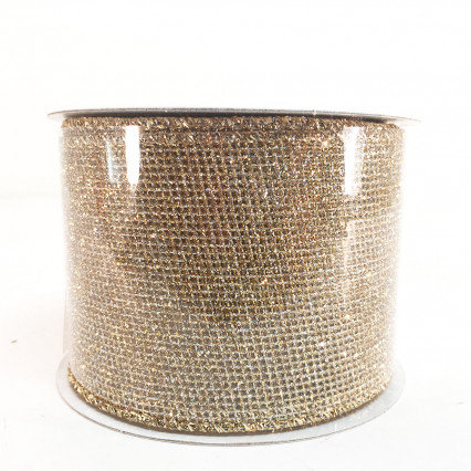 "2.5"" x 10Y Gold Glitter Ribbon"
