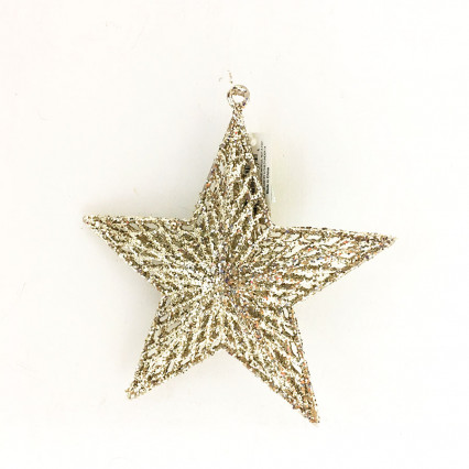 "7"" Gold Glitter Star Christmas Ornament"
