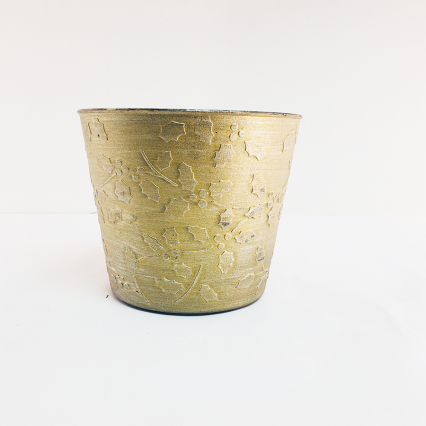 "Regency MT21242G 6"" x 7.25"" Gold Plastic Holly Pot Container"