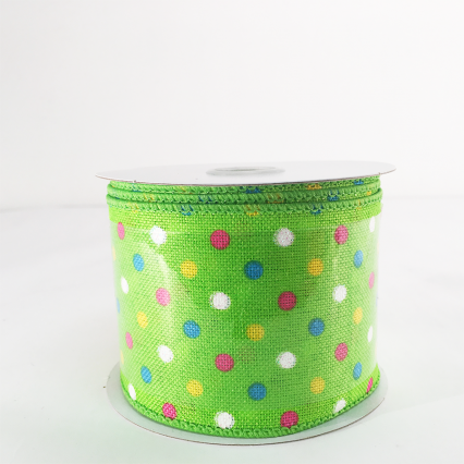 Jascotina 2.5 x 10yds Green Ribbon with Colorful Polka Dots