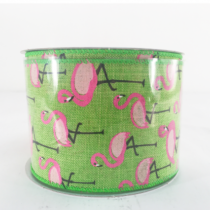 Jascotina Green Ribbon with Flamingos