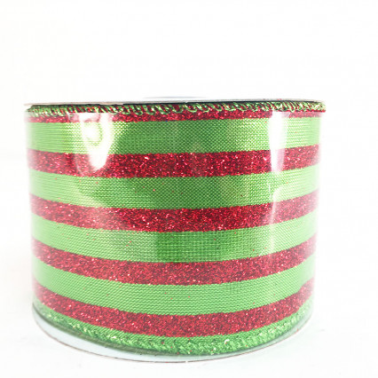 2.5 x 10Y Green and Red Glitter Striped Ribbon