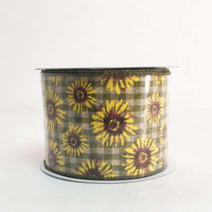 "2.5"" x 10YD Sunflowers with Green Pattern Ribbon"