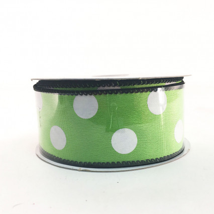 "Jascotina 1.5"" x 10Y Lime and White Polkadot Ribbon"