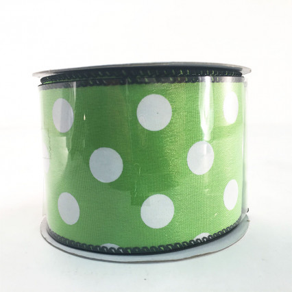 "Jascotina 2.5"" x 10Y Lime and White Polkadot Ribbon"