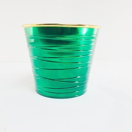 Napco 50453 Green with Gold Rim Metal Flower Pot