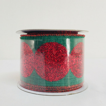 Direct Export Green & Red Linen Glitter Ribbon