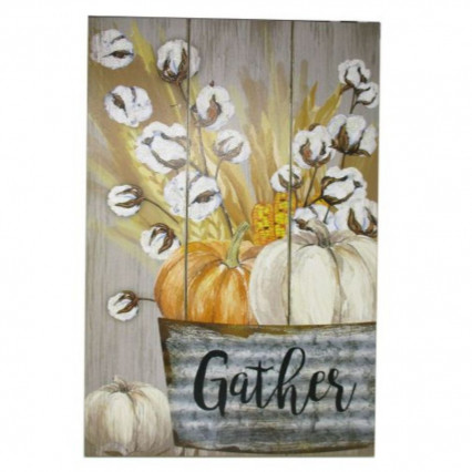 Gather Cotton and Pumpkins Fall Wooden Slat Sign