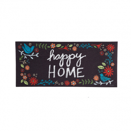 Evergreen 431210 Happy Home Decorative Mat Insert, 10 x 22 inches (Door Mat Frame Sold Separately)