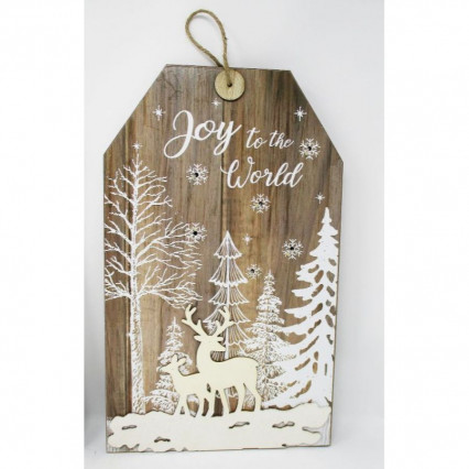 Joy to the World Christmas Wooden Hanging Sign