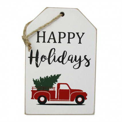 Happy Holidays Vintage Truck Wooden Christmas Hanging Sign