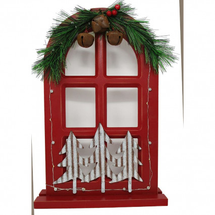 Christmas Window Red Light Up Decor