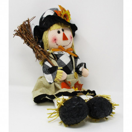 Scarecrow Girl in Buffalo Plaid with Broom
