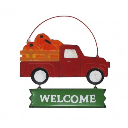 Red Vintage Truck Welcome Metal Hanging Sign