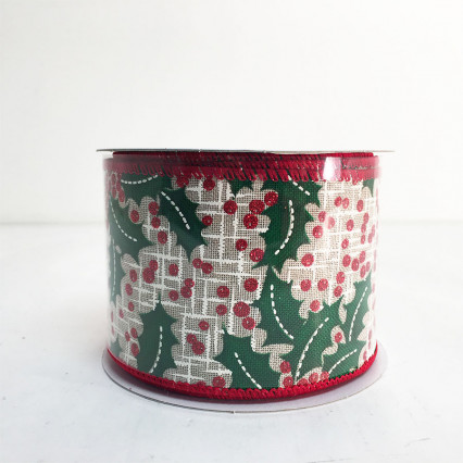 "2.5"" x 10Y Holly Berry Ribbon"