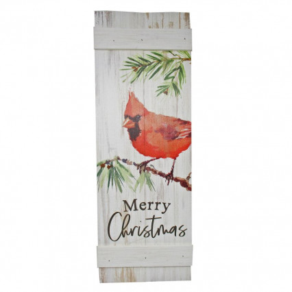 Merry Christmas Cardinal Wooden Sign