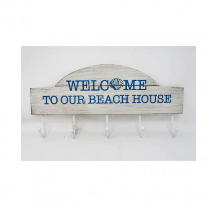 Welcome to Our Beach House Wooden Coat Hanger / Hooks