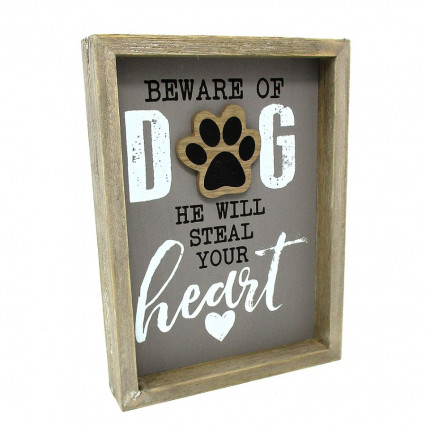 Beware of Dog Wooden Box Sign